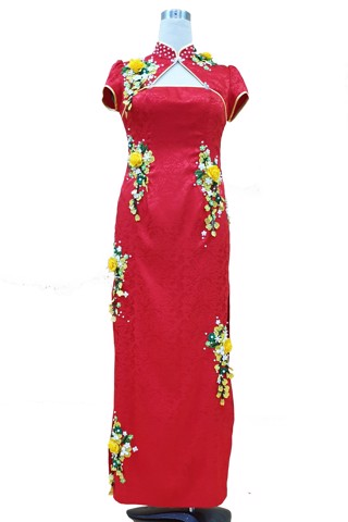 3D flowers red cheongsam