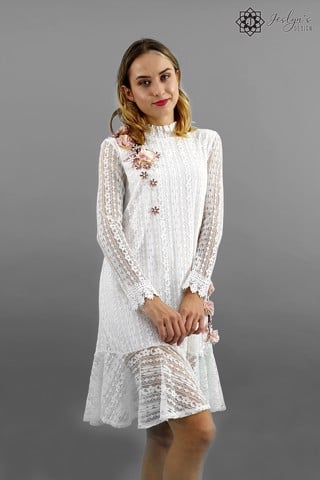 Camellia white lace dress D107J