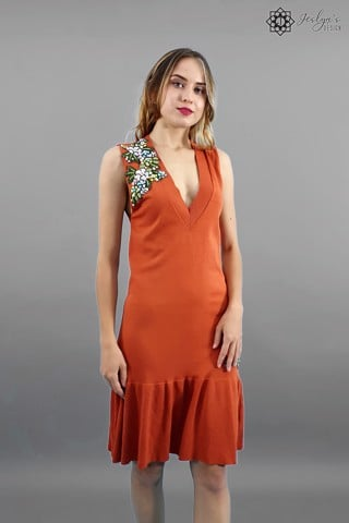 Ume orange mermaid dress D109J