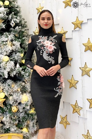 Black bodycon dress with 3D flowers D135J