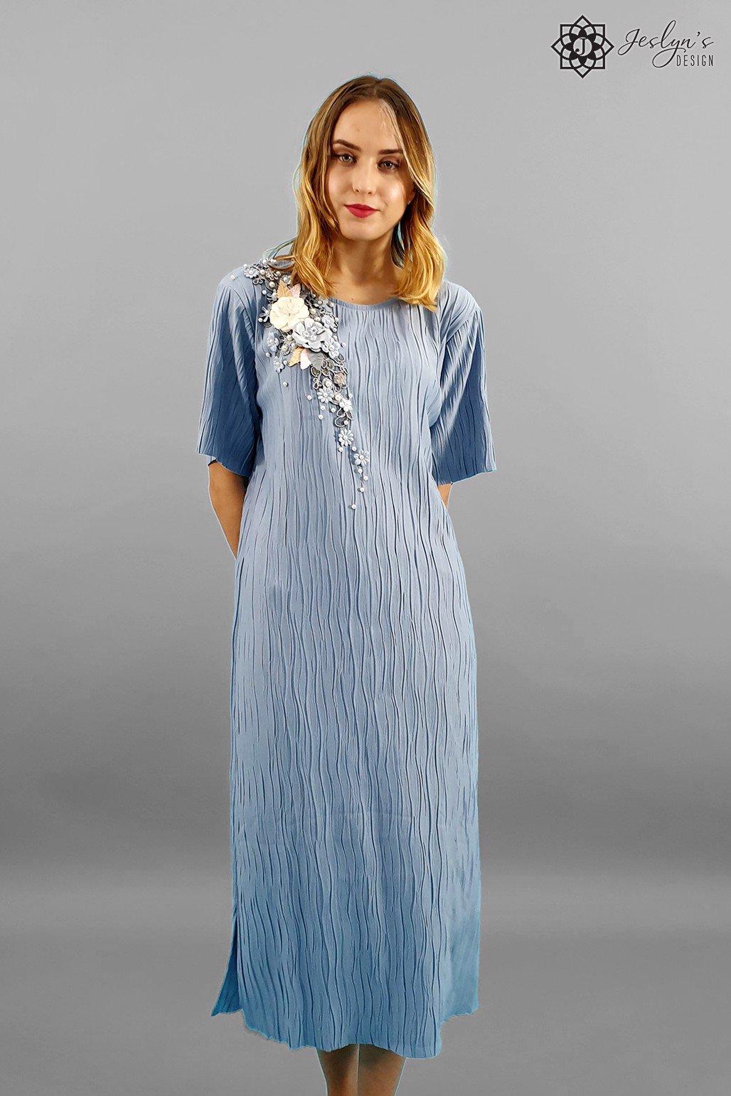 Camellia steel blue maxi dress D140J