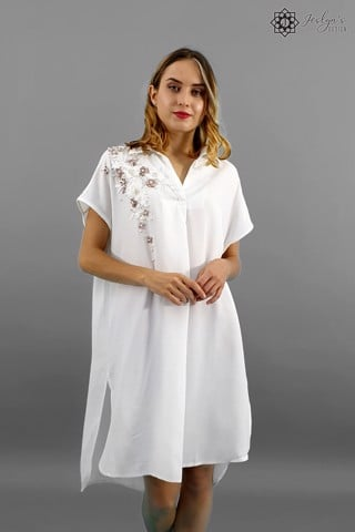 Cosmos white shirt dress D141J