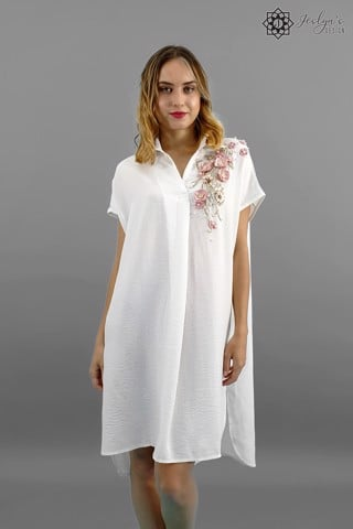 Daisy white shirt dress D142J
