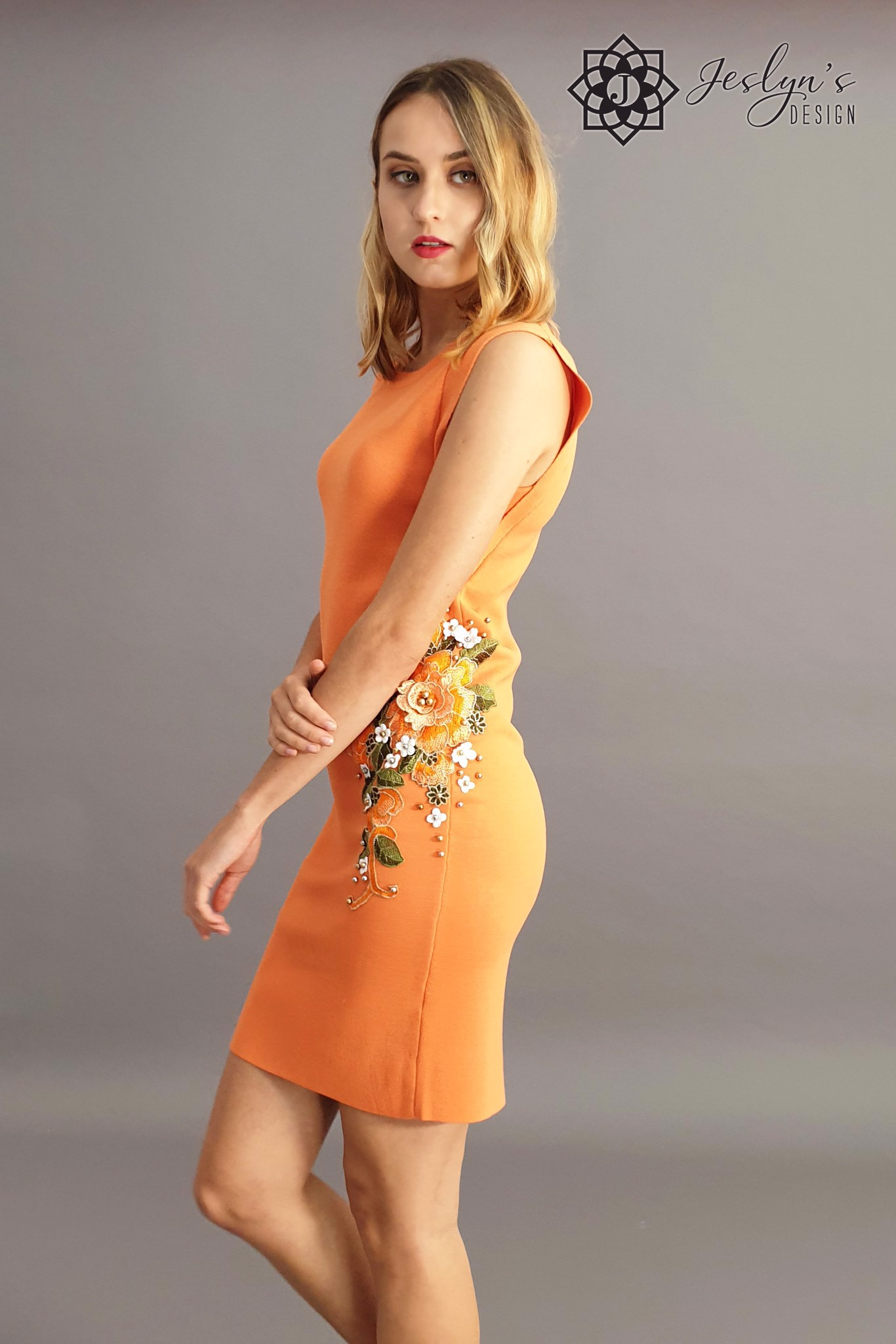 Gardenia orange sheath dress with 3D embroidery flower D14J