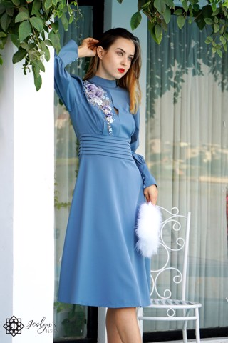 Daisy quilt blue dress D167J