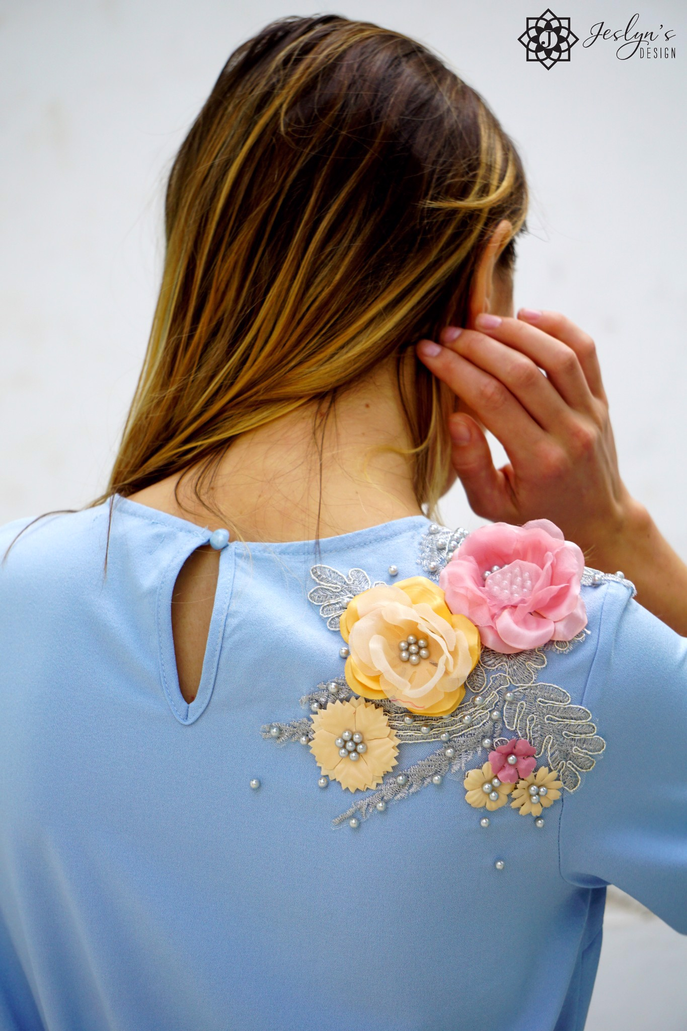 Blue dress with 3D embroidery flowers D168J