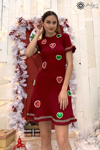 Hearts and pearls red dress D176J