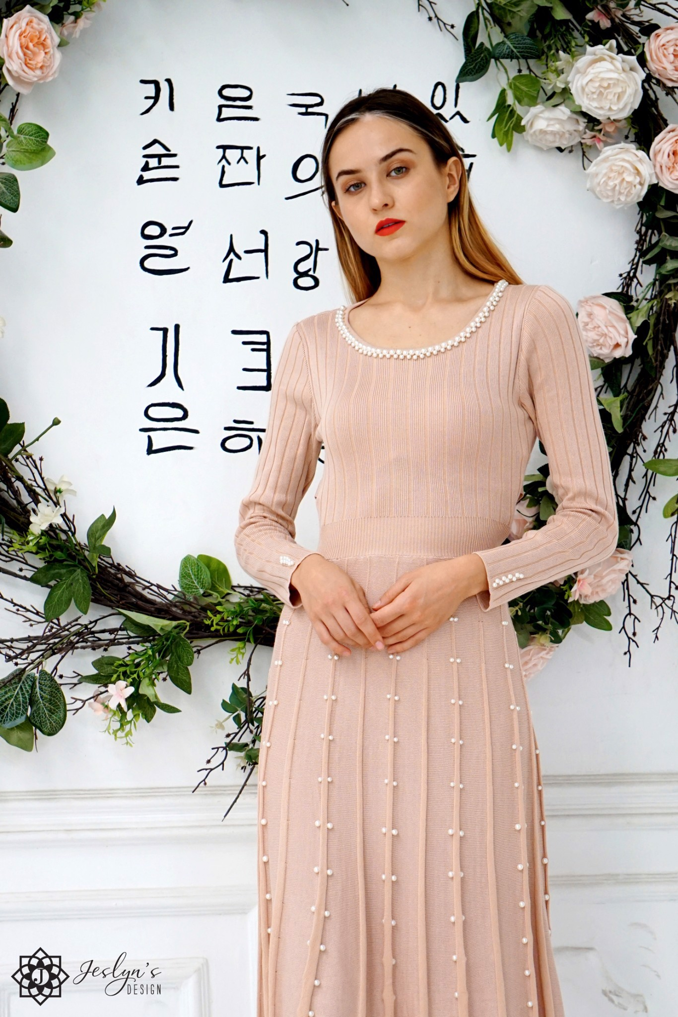 Pearls pink dress D186J