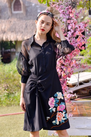 Peony black dress D190J