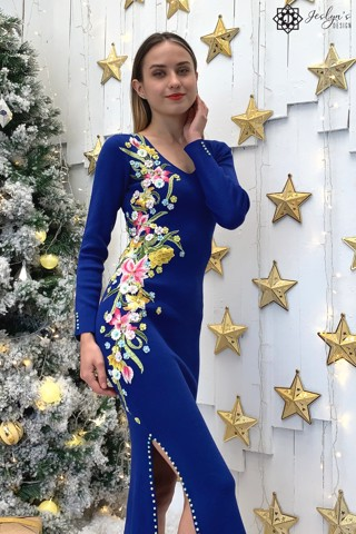 Navy bodycon dress with embroidery flowers D193J