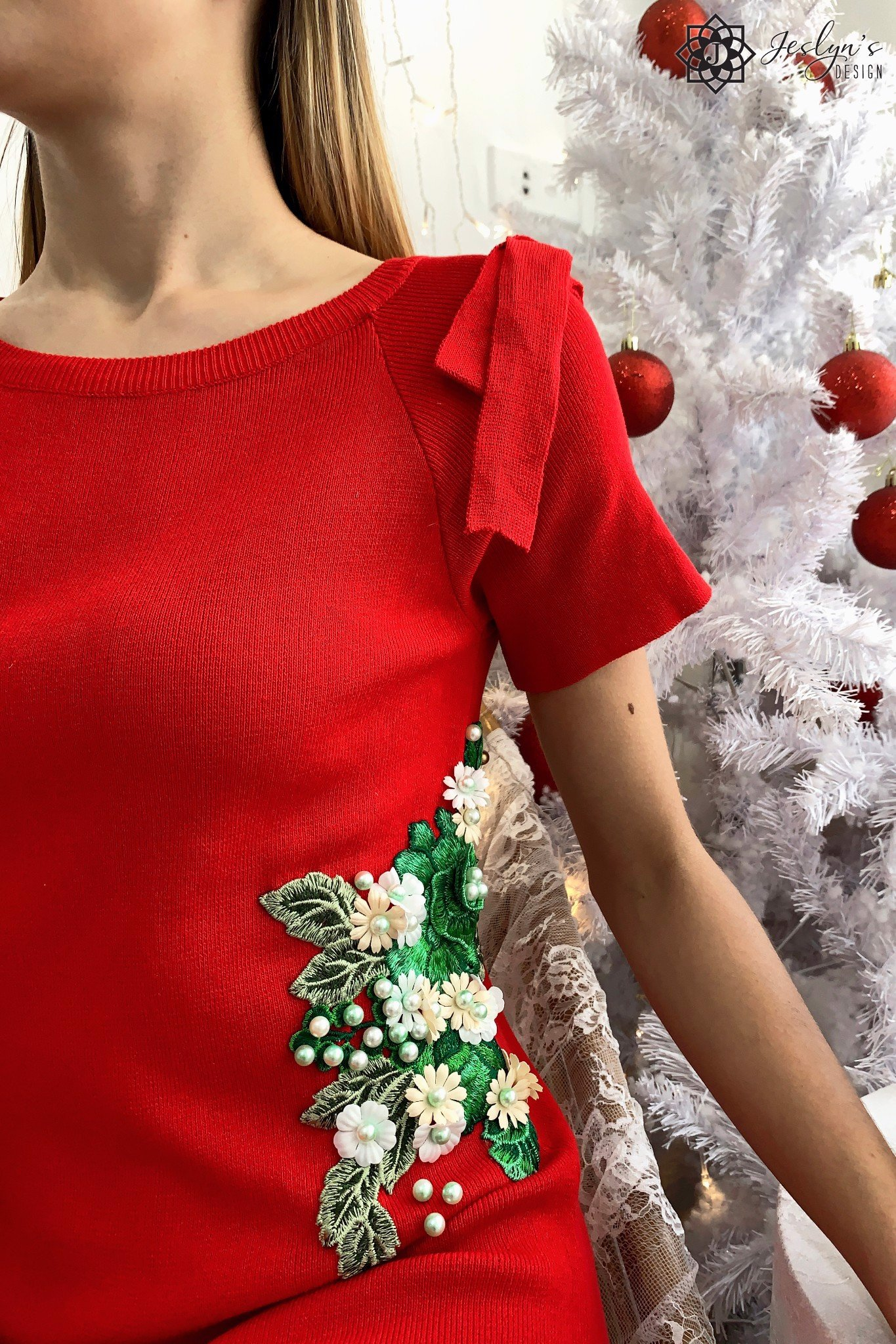 Fiori Red Dress with 3D embroidery flower D195J
