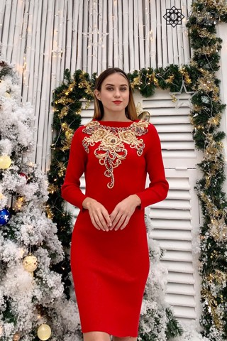 Red bodycon dress with 3D embroidery flower D196J