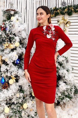 Eustoma red bodycon dress D197J
