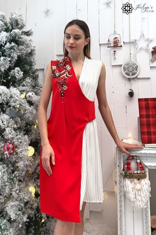 Red and white dress with 3D embroidery flower D202J