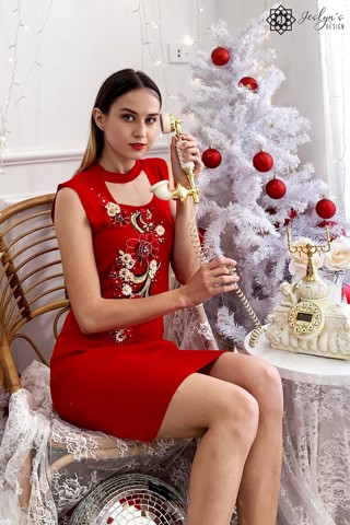 Red bodycon dress with 3D embroidery flower D205J