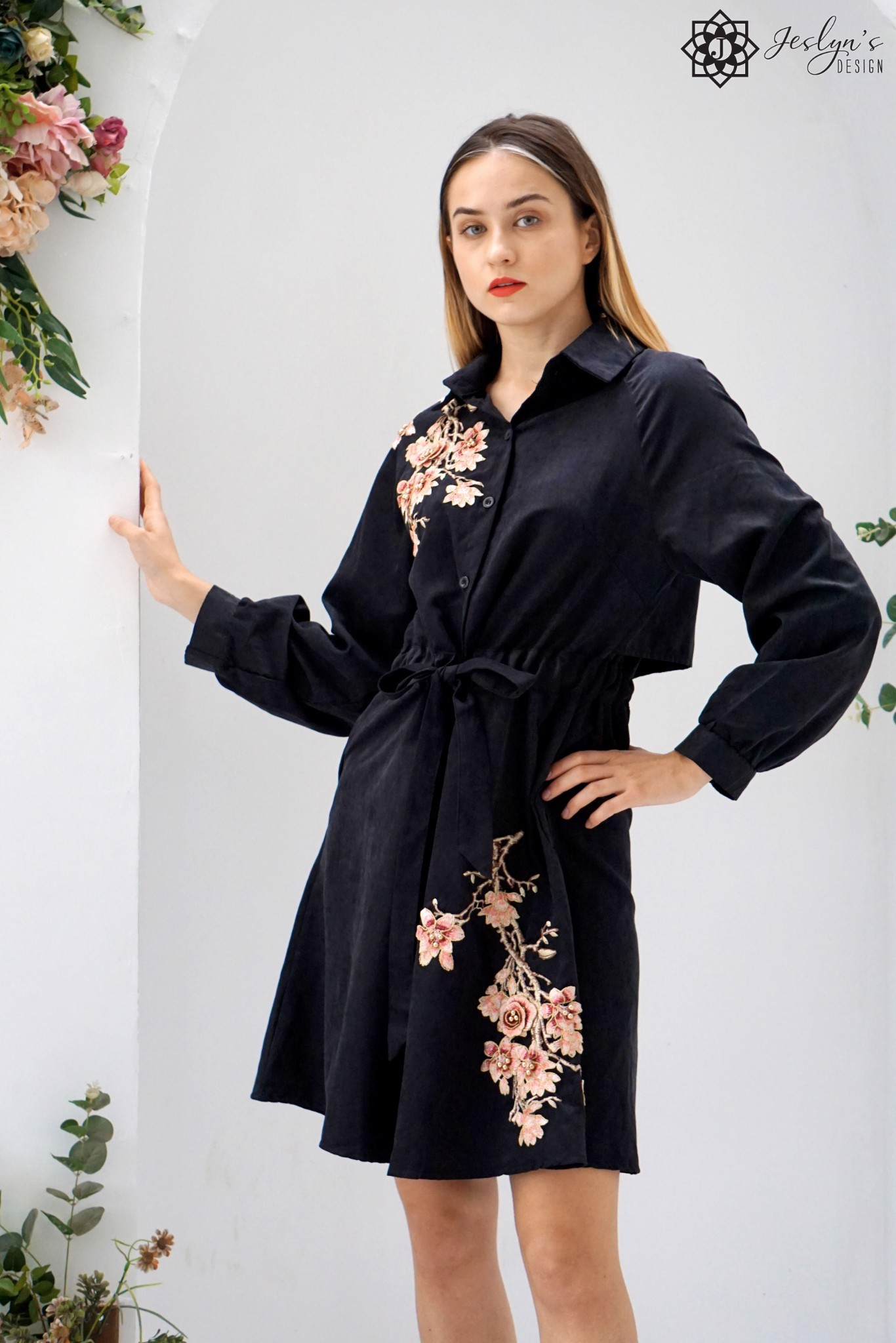 Jasmine black shirt dress D252J