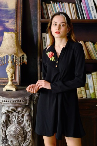 Lisianthus black shirt dress D256J
