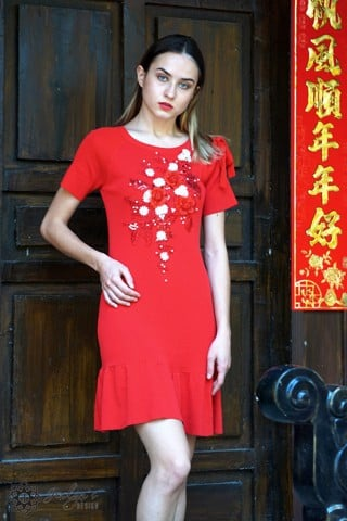 Daisy red dress D257J