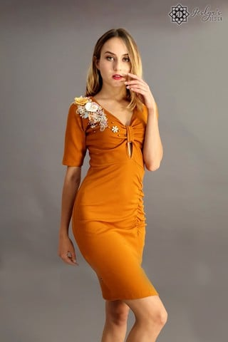 Camellia orange dress D46J