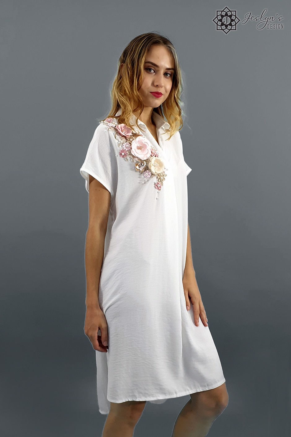 Camellia white shirt dress D81J