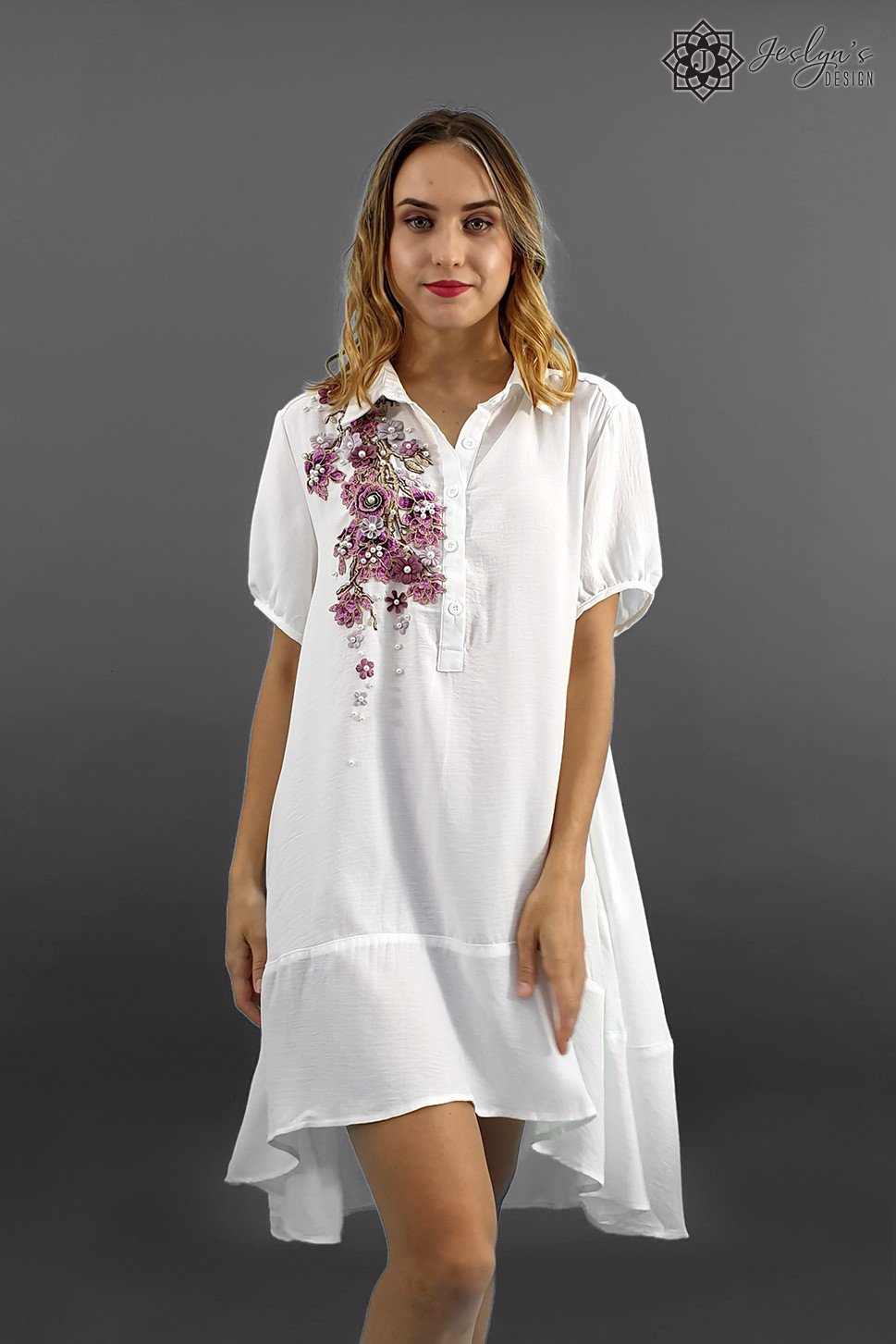 Fleur white shirt dress D82J