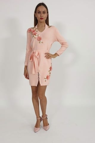 Lisianthus pink cold shoulder dress
