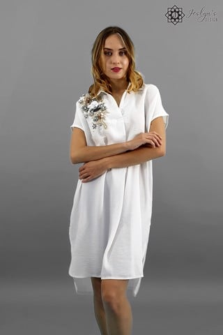 Sequin white shirt dress D85J