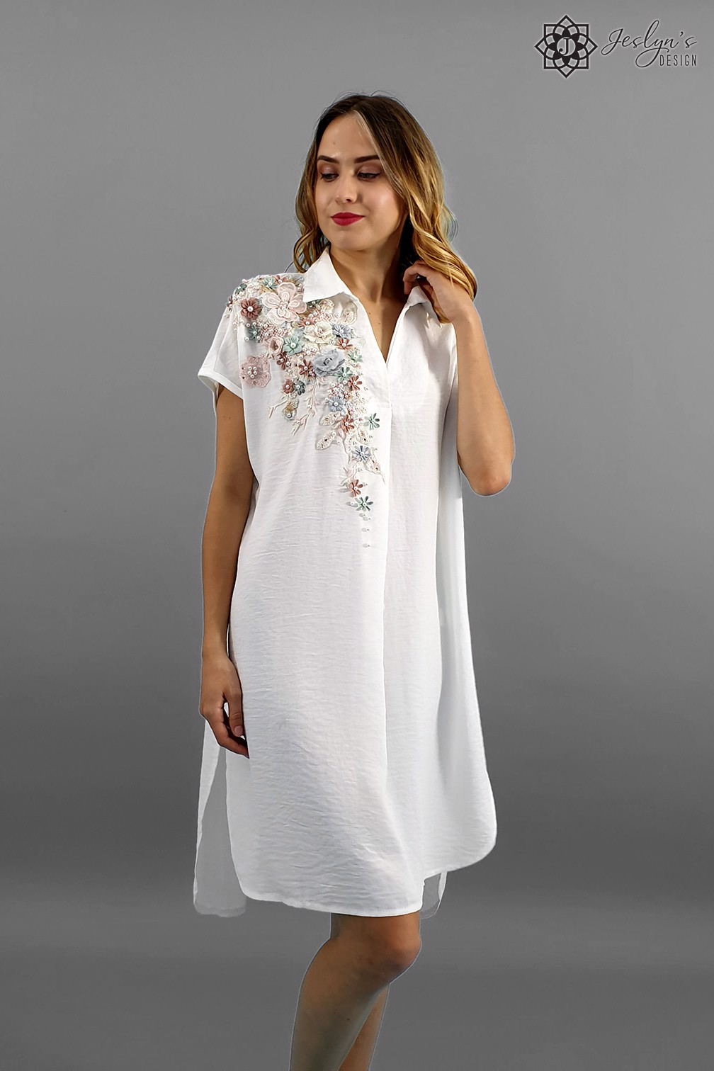 Flora white shirt dress D89J
