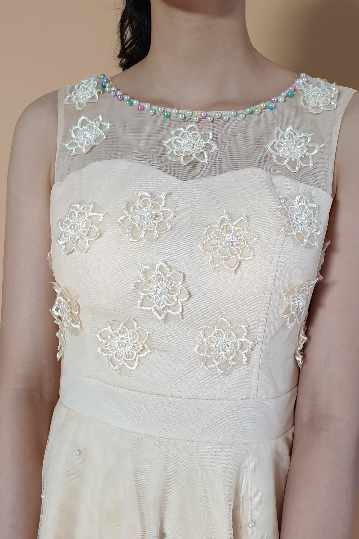 Lotus and pearls white princess dress