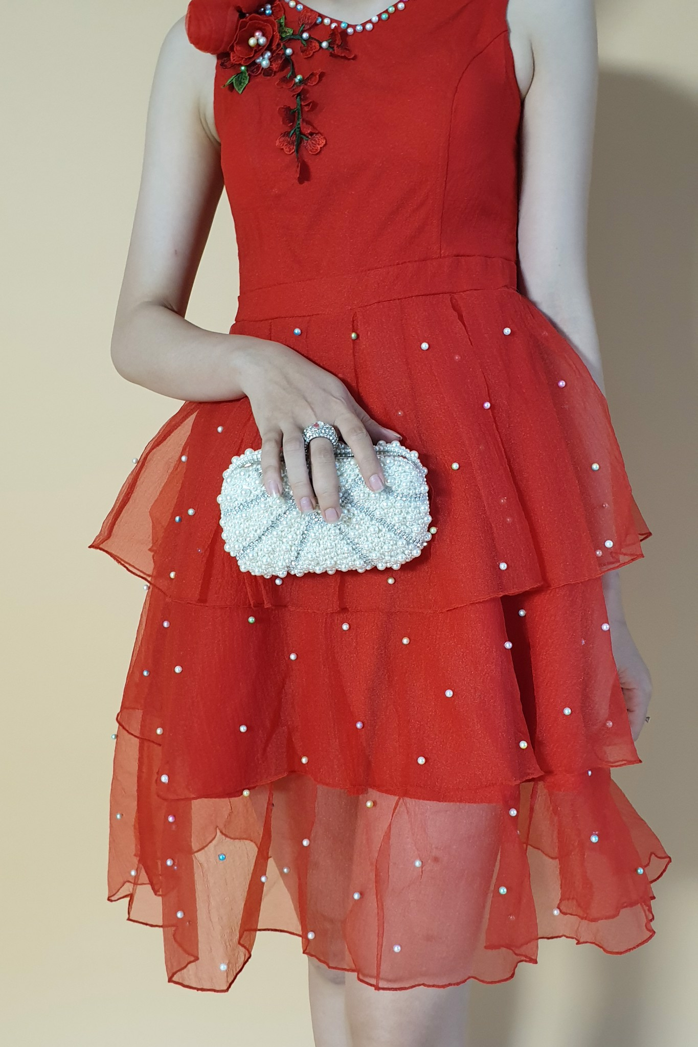 Rosa and pearls red princess dress
