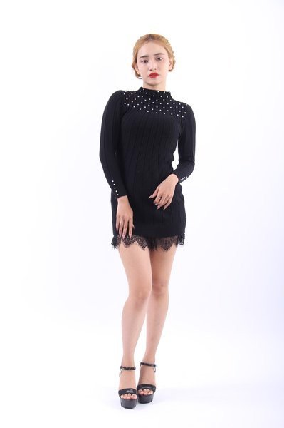 Les Perles black bodycon, mini dress