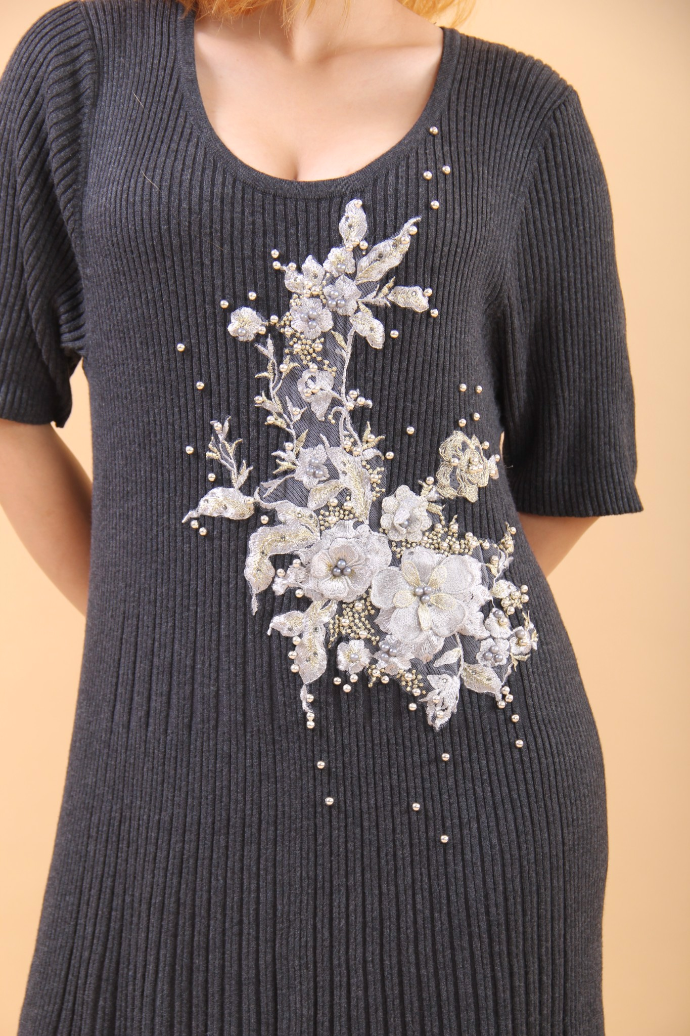 3D embroidery grey shift dress