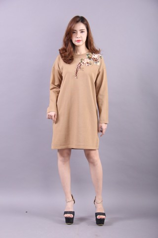 Gardenia brown shift dress