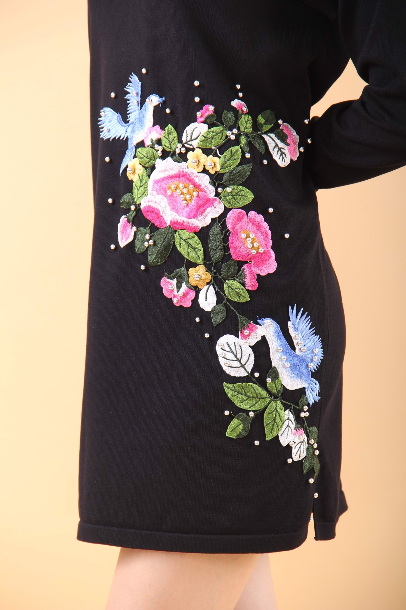 Fleur et le pigeon black shift dress