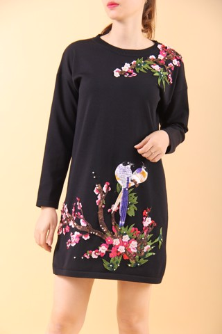 Lovebirds  on peach branch black shift dress