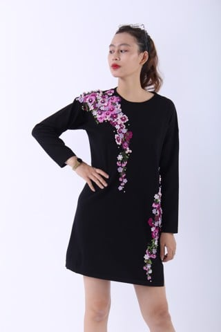 Embroided purple flower on black shift dress