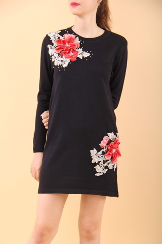 Red peony black shift dress