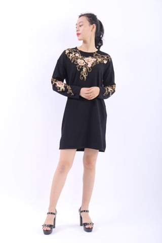 3D Peony embroidery black shift dress