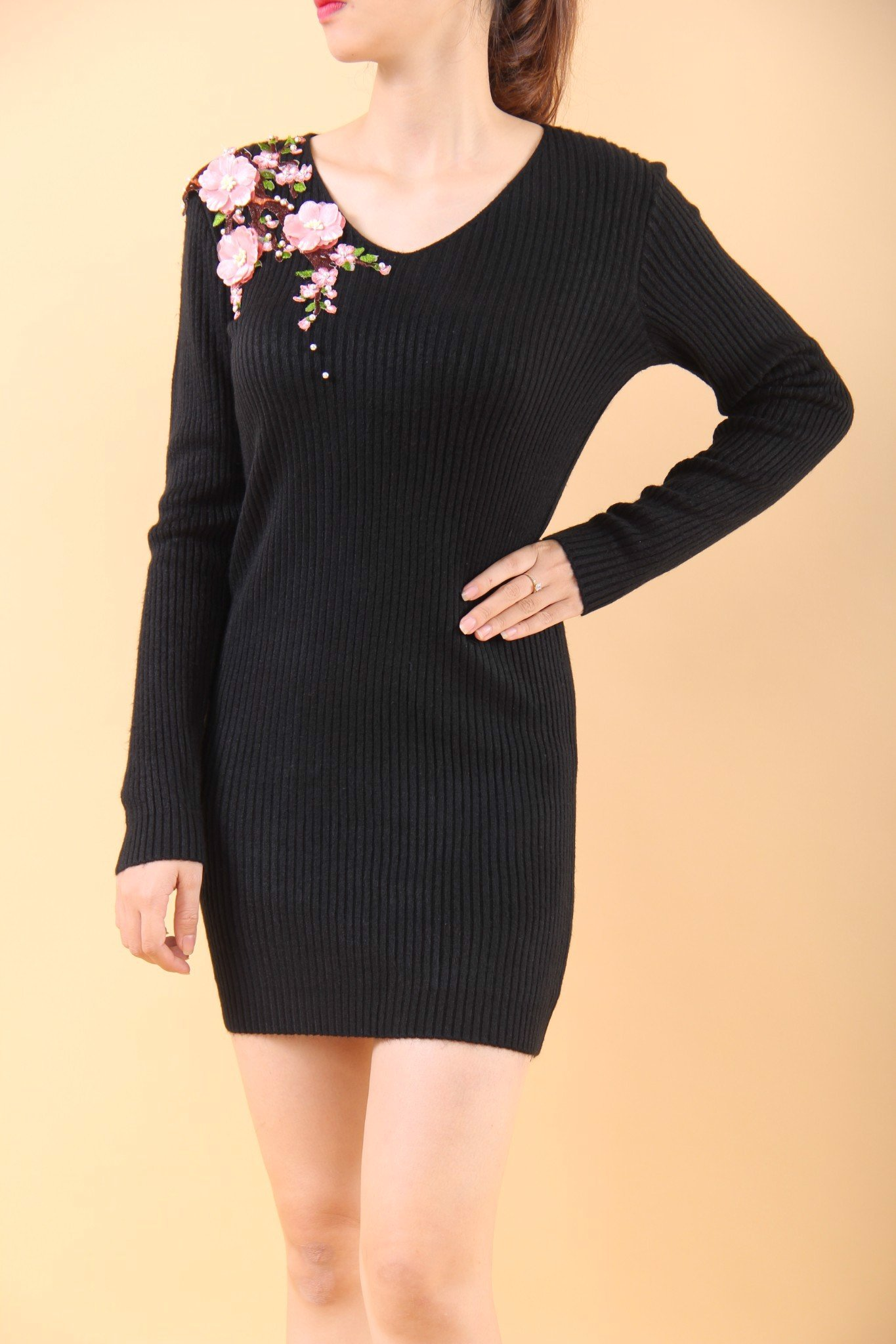 Peach blossom black mini dress