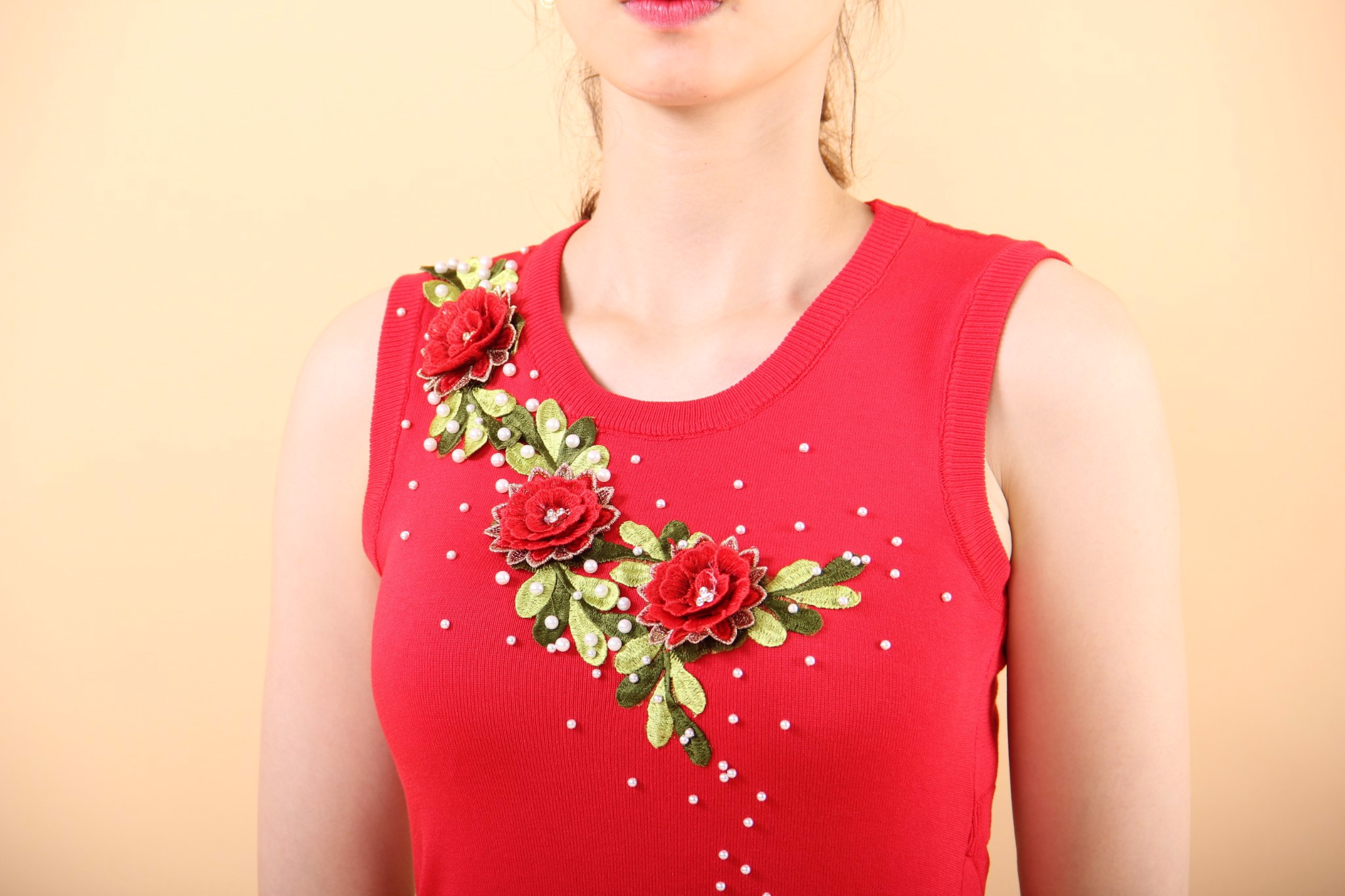 Lisianthus red bodycon dress