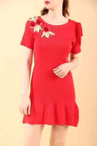 Begonia red mini mermaid dress