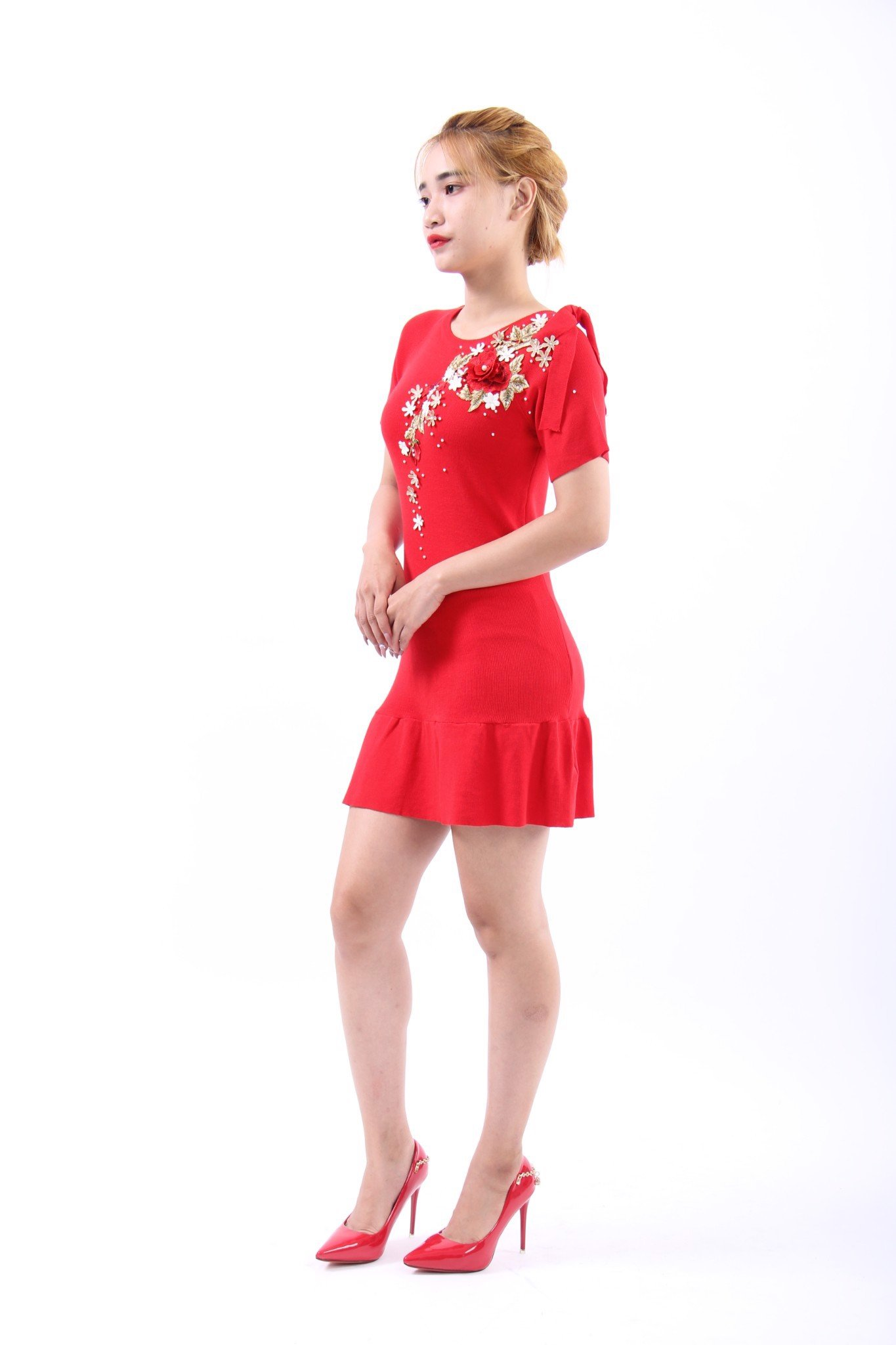 Rose and Soaponaria red mini mermaid dress