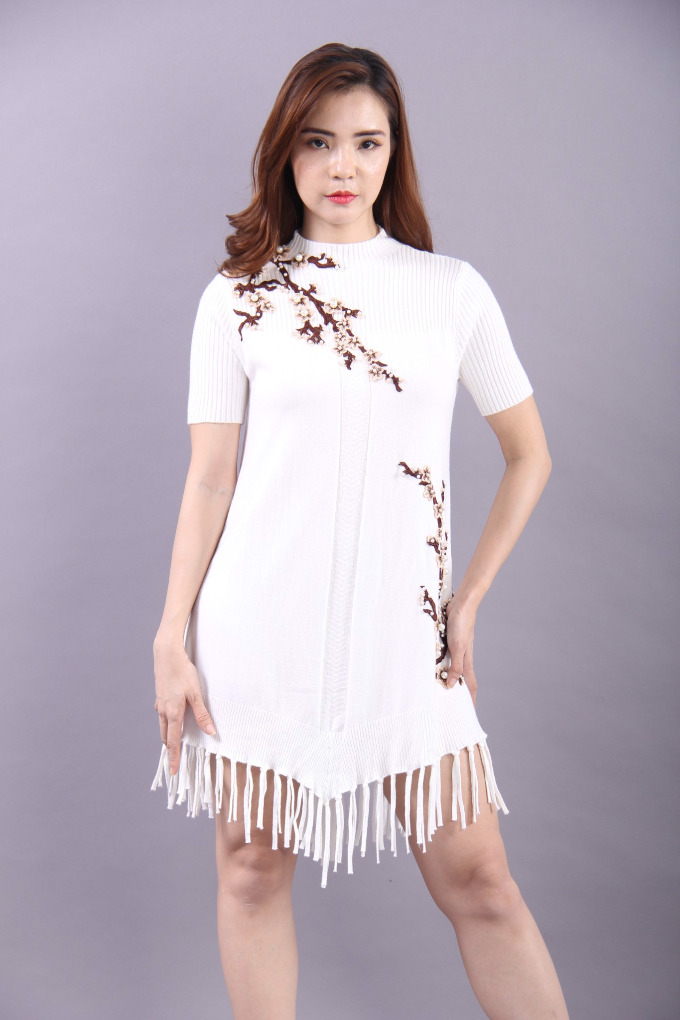 Apricot blossom and pearls white flapper dress
