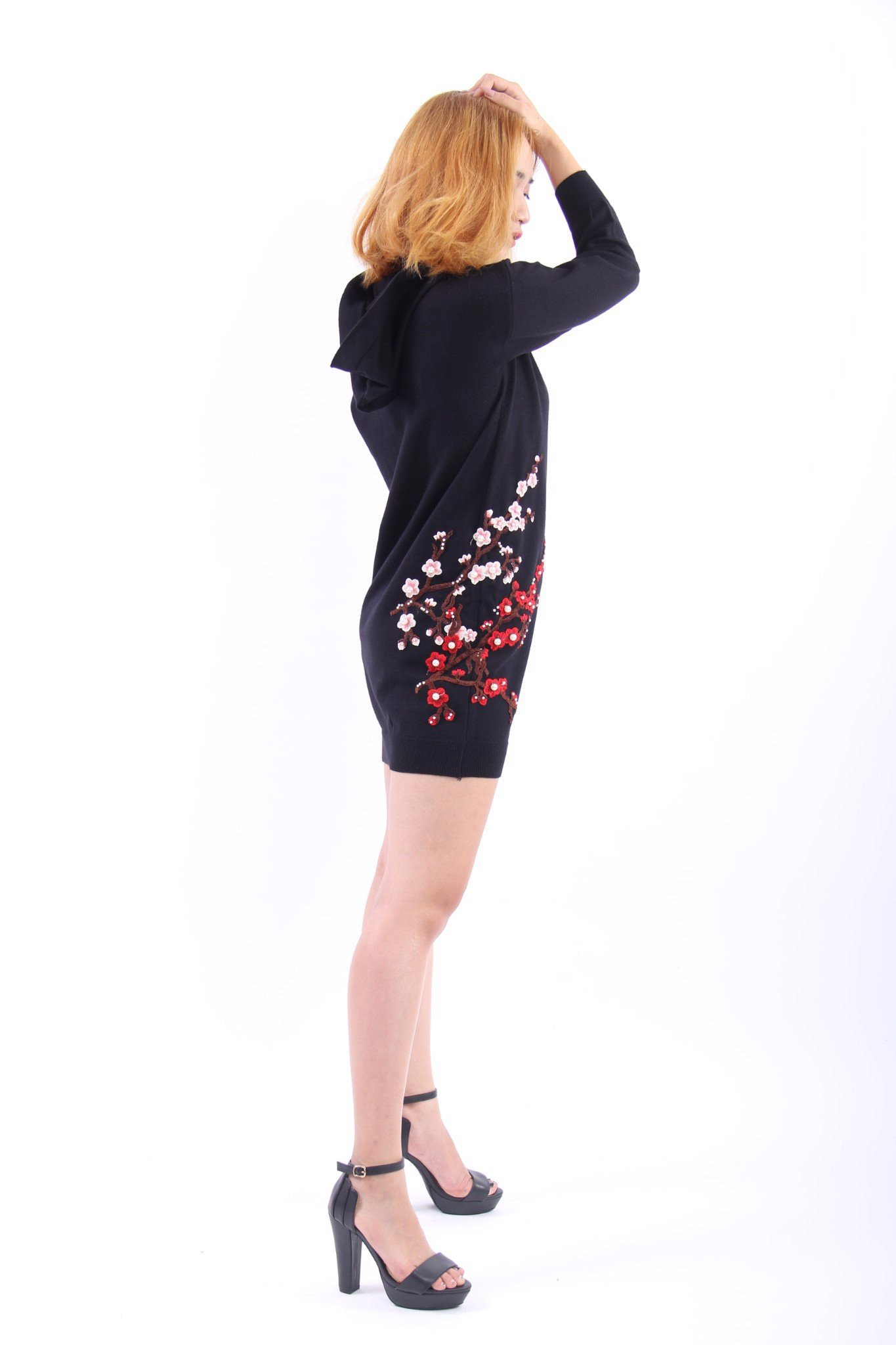 Apricot blossom embroidery and pearls black shift dress