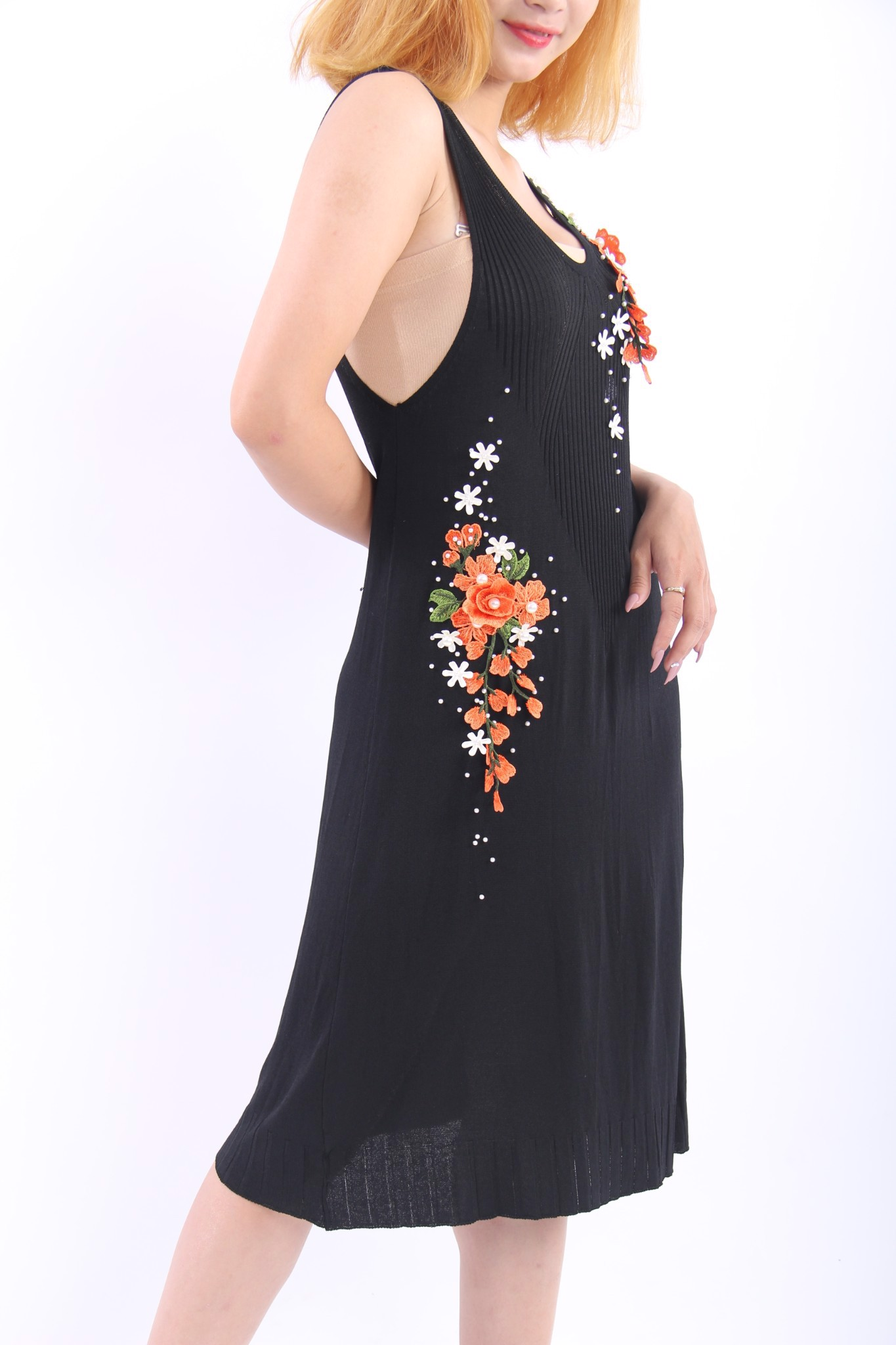 3D flowers black pinaforce dress