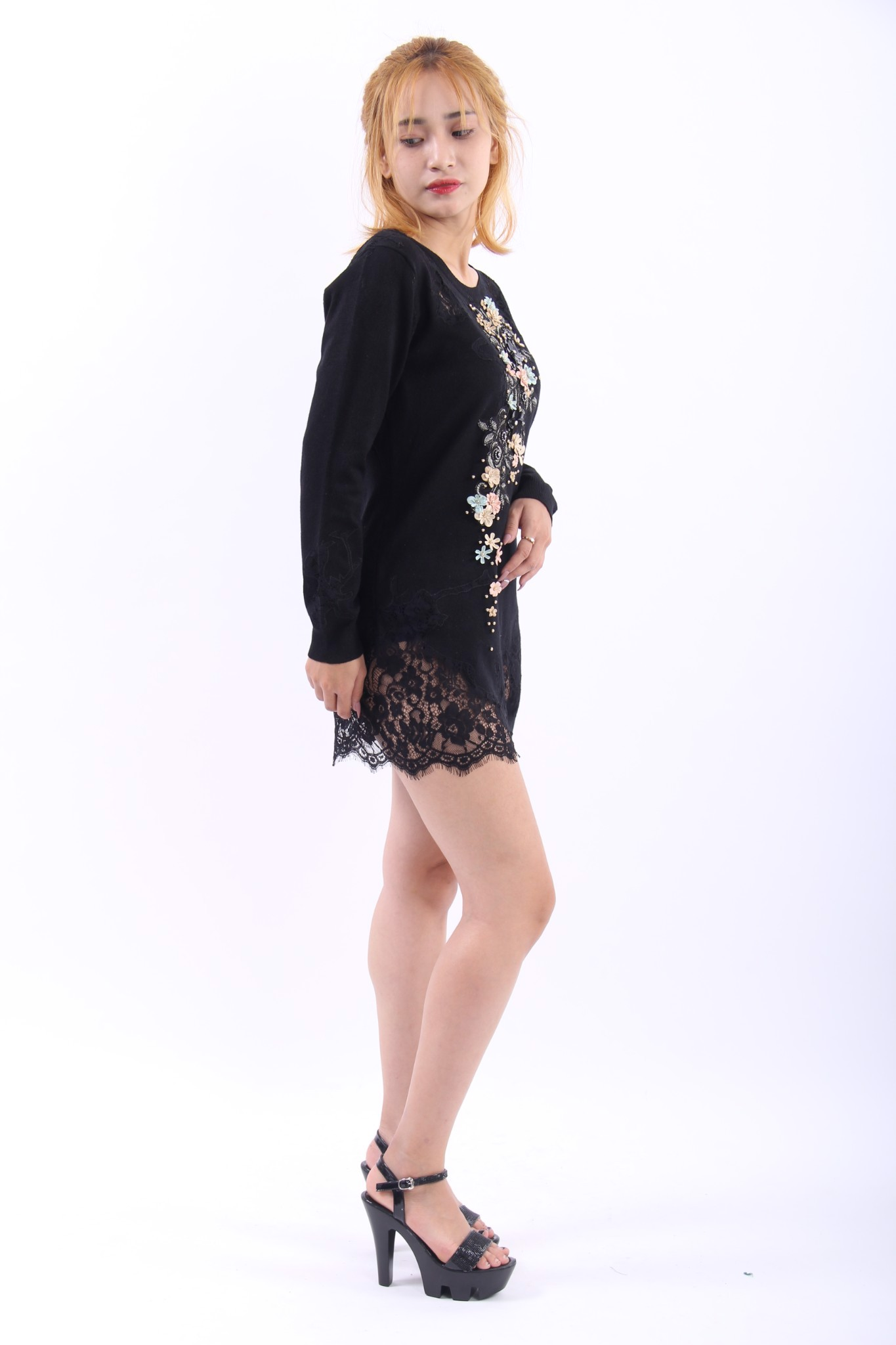 3D flowers sexy black mini lace dress