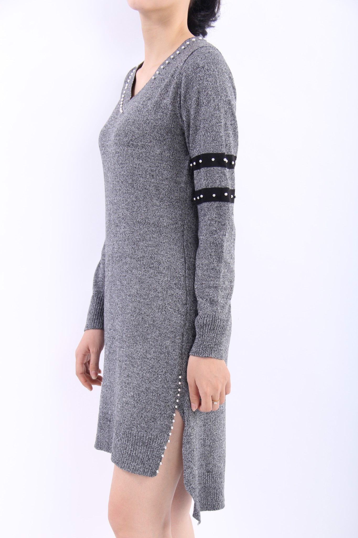 Pearls grey high-low shift dress