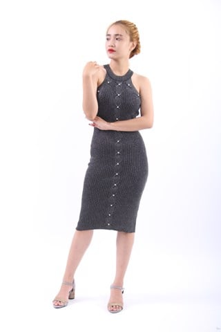 Black glitter halter dress with pearls