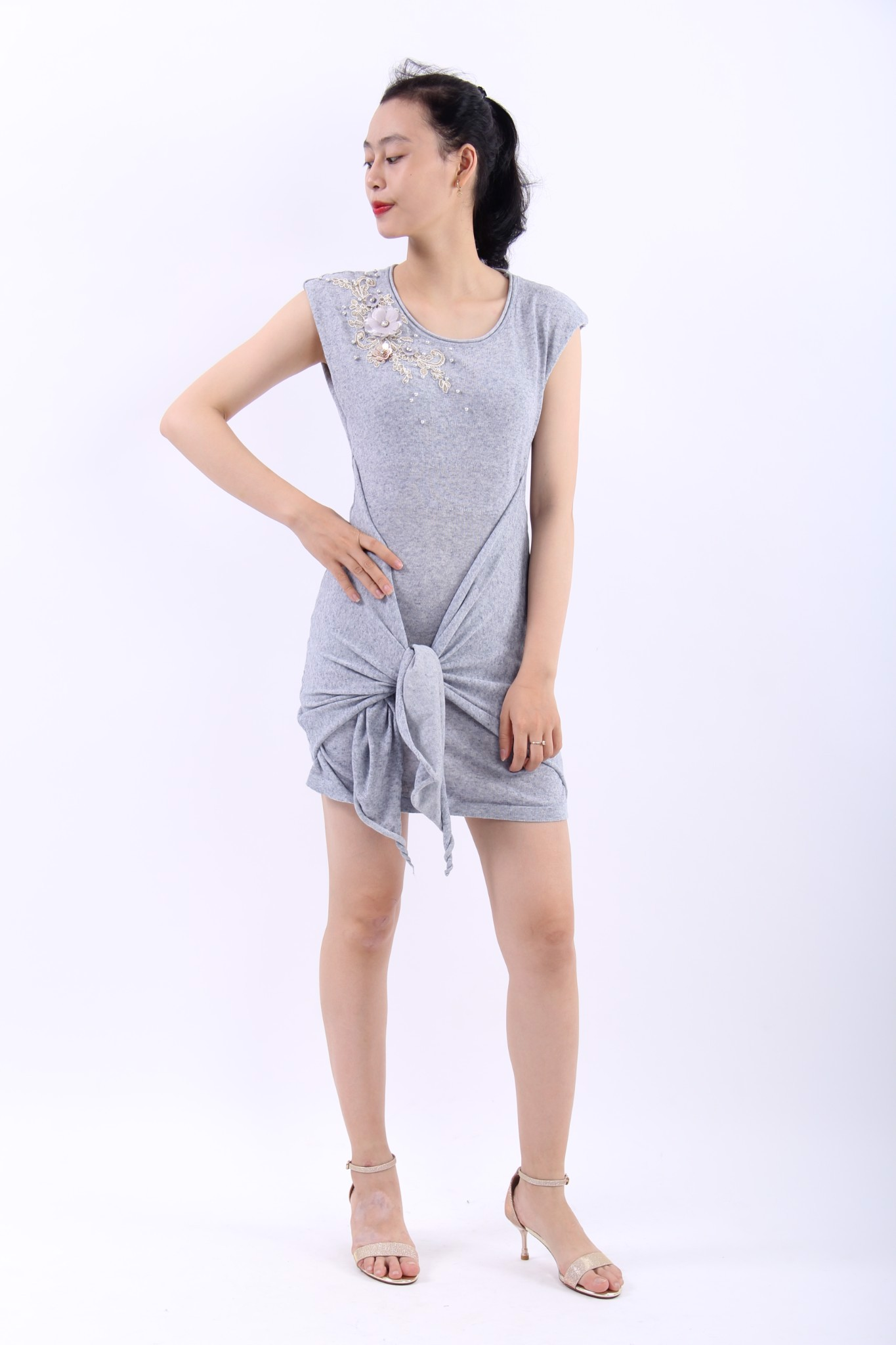 Cosmos grey knot front bodycon dress