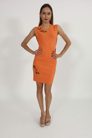 Lisianthus and pearls orange bodycon dress
